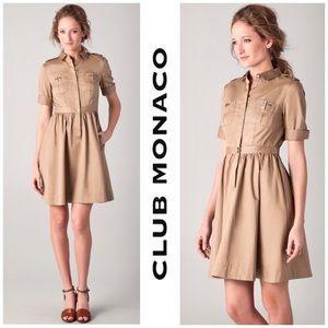 Club Monaco Khaki Cotton Shirt Dress